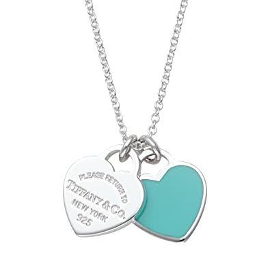 0dca9a464 Tiffany Sterling Silver/Blue Enamel Finish Rtt Double Heart Tag Pendant  Necklace 27125107: Amazon.co.uk: Jewellery