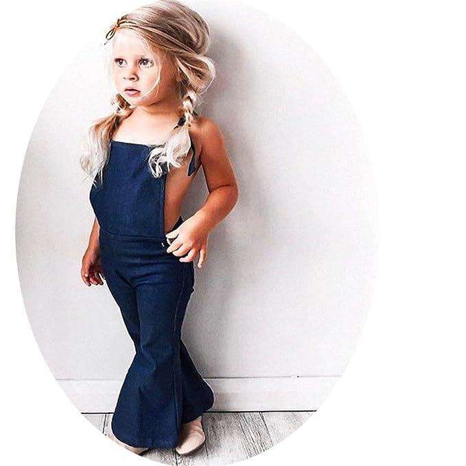 6f24eb882ed5 Amazon.com  Baby Girl Sleeveless Backless Strap Denim Overall Romper Jumper  Bell Bottom Trousers  Clothing