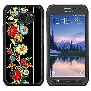 Caucho caso de Shell duro de la cubierta de accesorios de protección BY RAYDREAMMM - Samsung Galaxy S6Active Active G890A - Modelo retro del Patrimonio floral de la vendimia
