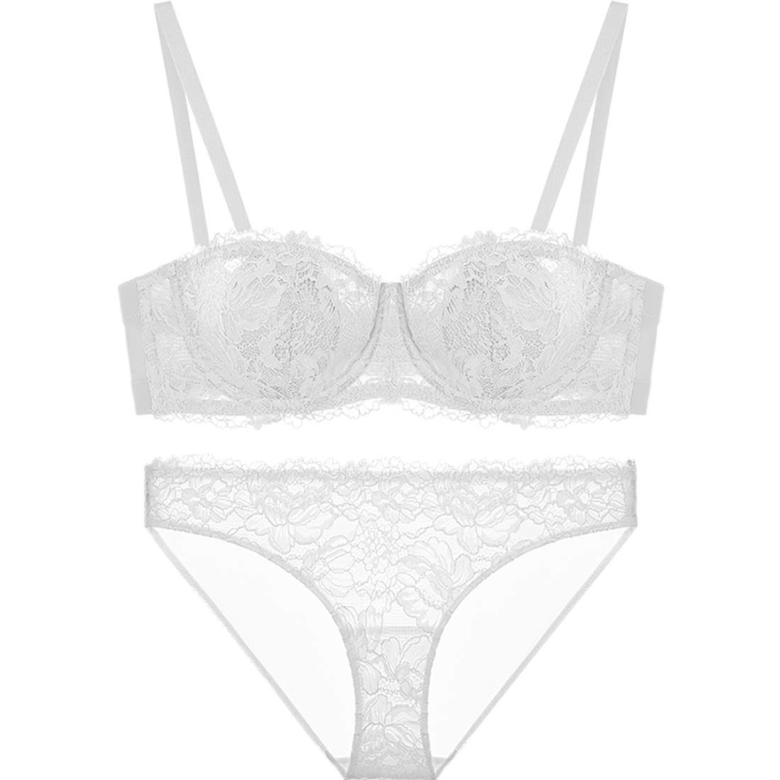 White Sexy Bra Set gathered French thin lace embroidered bra, with steel ring, adjustable chest, three rows of three buckle
