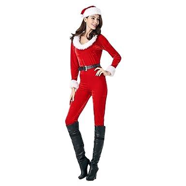 ba06a1e2851 Amazon.com  Haocloth Santa Jumpsuits Christmas Jumpsuits For Women Sexy  Christmas Santa Costume  Clothing