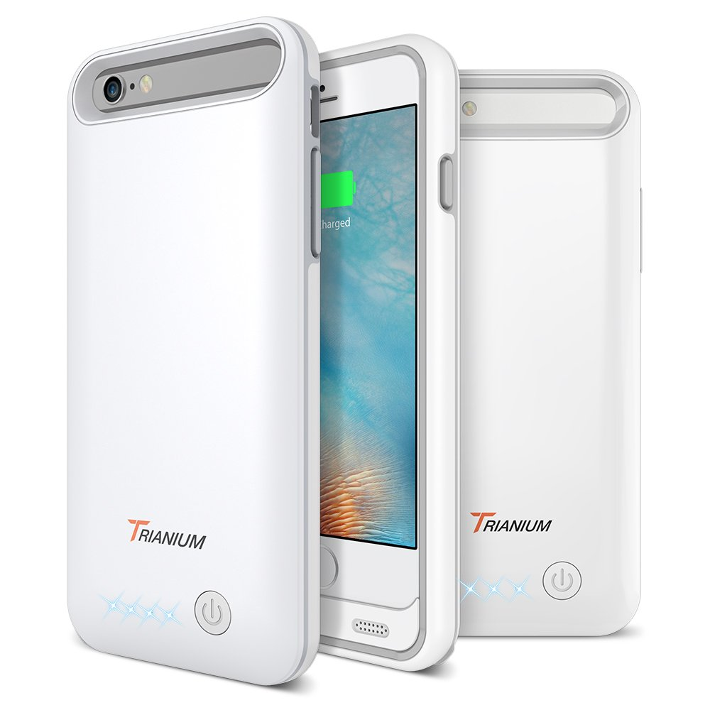 iPhone 6S/6 Battery Case, Trianium Atomic Pro iPhone 6S Portable Charger (4.7 inch) Charging Case - 3200mAh Extended Rechargeable Battery Pack Juice Bank Power Cases [MFI Apple Certified]-White/Grey