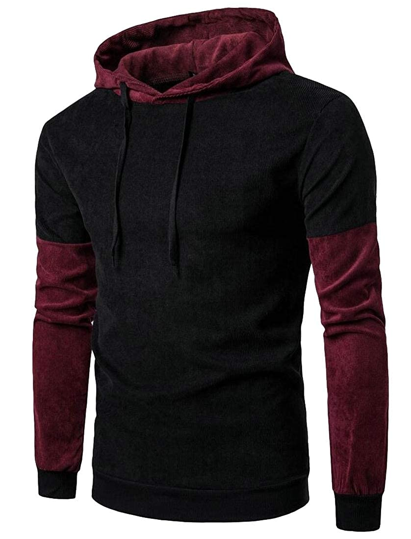 Xswsy XG Mens Relaxed Fit Hoodies Hooded Hipster Color Stitching Pullover Sweatshirts