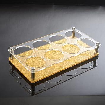 Acrílico rack secado reposar taza,Estante del vino drenaje bandeja porta cerveza portavasos-B: Amazon.es: Hogar