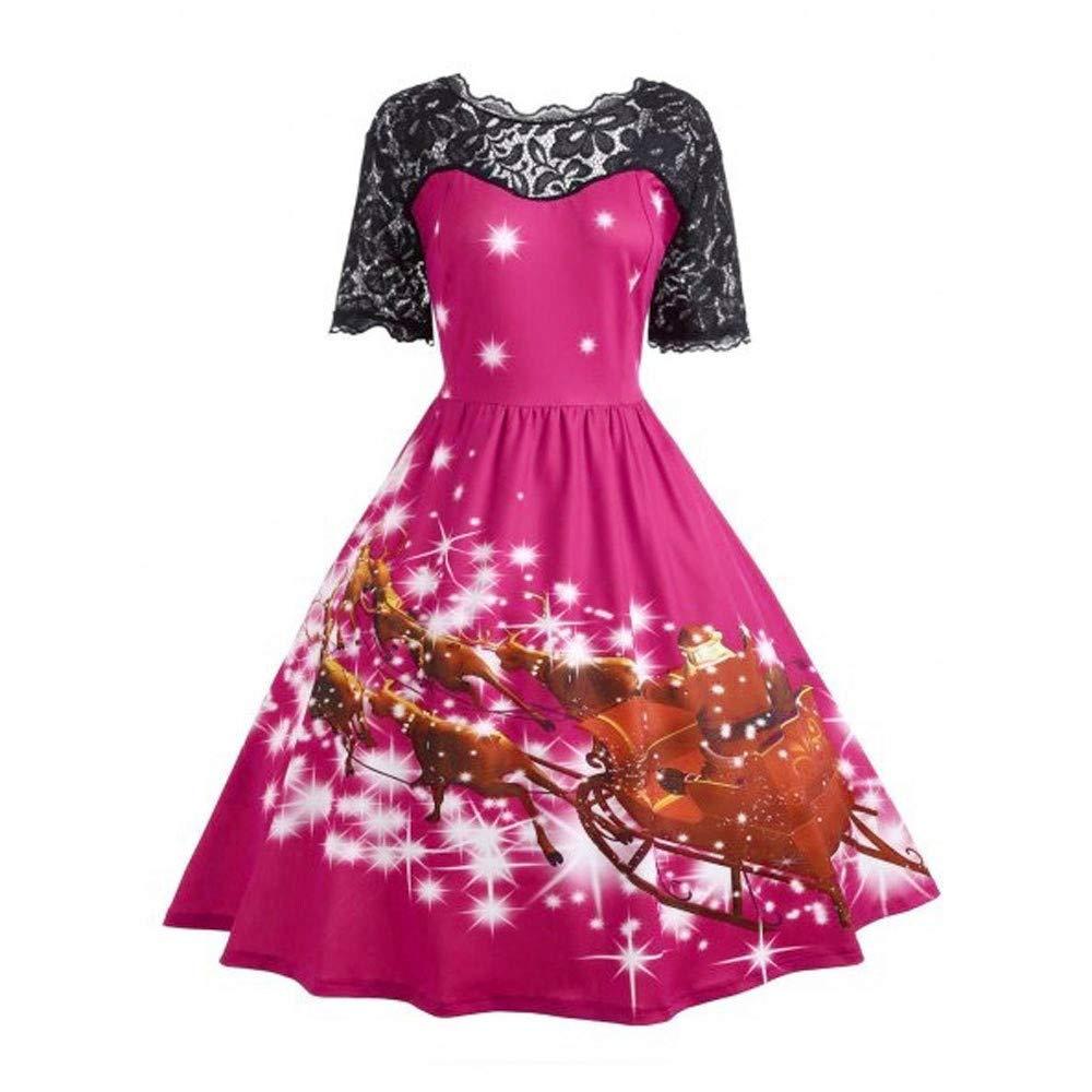 Bestow Vestido de Panel de Encaje con Estampado de Navidad para Mujer Vestido de Encaje de Swing de Navidad para Mujer: Amazon.es: Ropa y accesorios