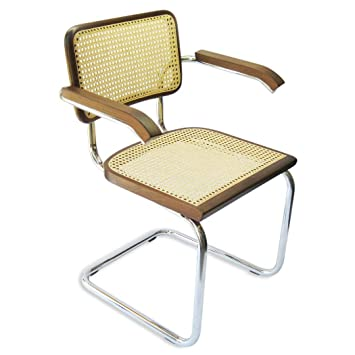 Marcel Breuer Cesca Cane Chrome Arm Chair In Walnut