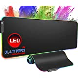 Quality Perfct Large RGB Gaming Mouse Pad Extended, Glowing Computer Keyboard Mousepad Water-Resistant with Non-Slip…