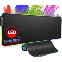 Quality Perfct RGB Gaming Mouse Mat Large Led Mousepad 800×300×4mm XL Extended Glowing Computer Keyboard Mice Pad Water-Resistant with Non-Slip Rubber Base for Gaming, PC, Laptop, Macbook Desk