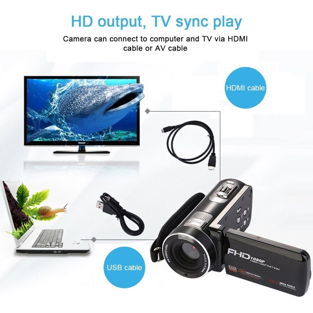 Camera Camcorder with IR Night Vision, Weton 3.0 inch LCD Touch Screen Digital Video Camera Full HD 1080p 24.0MP Pixels 18x Digital Zoom Mini DV with Remote Control (Two Batteries included) by Weton (Image #5)