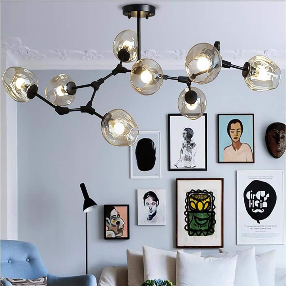 E26 Vintage Industrial Molecules Pendant Lights Black Branches Adjustable Chandelier Lighting with Handblown Glass Globe Lampshade-3 Lights Blue TopDeng Sputnik Glass Chandeliers