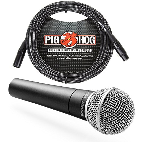 Shure SM58 Cardioid Vocal Microphone & Pig Hog Black & White Woven Mic Cable, 20ft XLR - Bundle by Shure