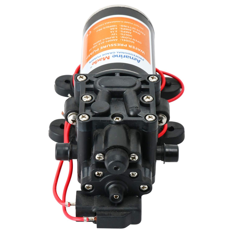 Amarine Made 12v Self Priming Water Pressure Diaphragm Pump 1.3 GPM 100 PSI for Caravan//RV//Boat//Marine