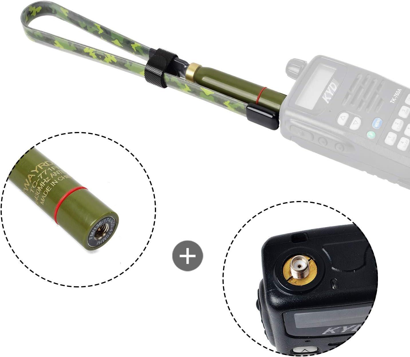 TWAYRDIO Portable Tactical Antenna 771Q for YAESU VX-6R FT-60R Retevis RT82 RT3 TYT MD-380 MD-UV380 Two Way Radio SMA Male Camouflage Dual Band 2Meter 70cm 20inch Handheld Ham Radio Antenna