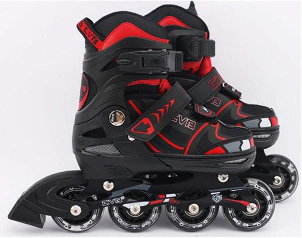 インラインスケート、フルフラッシュ高弾性摩耗滑り止めの厚いアルミニウム合金ブラケットローラースケートは男の子と女の子のスライディングスポーツに適しています,赤,M 赤 Medium