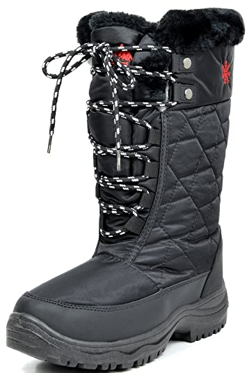58fdb40e938 arctiv8 Women s Goose Black Faux Fur Knee High Winter Snow Boots Size 10 ...