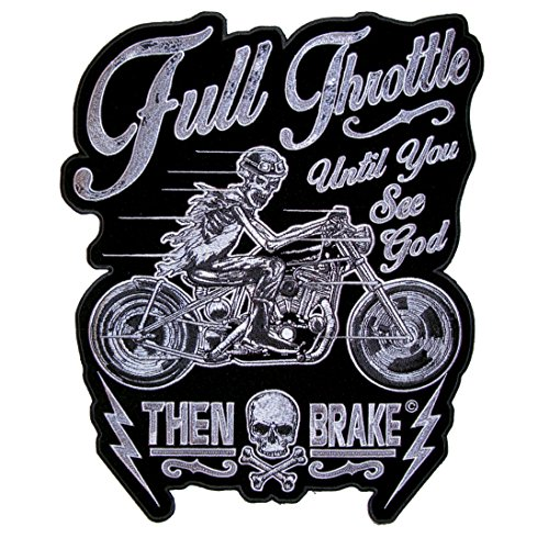Leather Supreme Cool Full Throttle Until You See God Skeleton Skull Embroidered Motorcycle Biker Patch-White-Medium ()