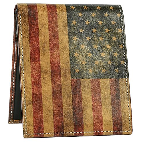 American Flag Wallet - Bifold Trifold Artisan Leather Wallets for Men With 2 ID Windows - Durable Designs and Graphics