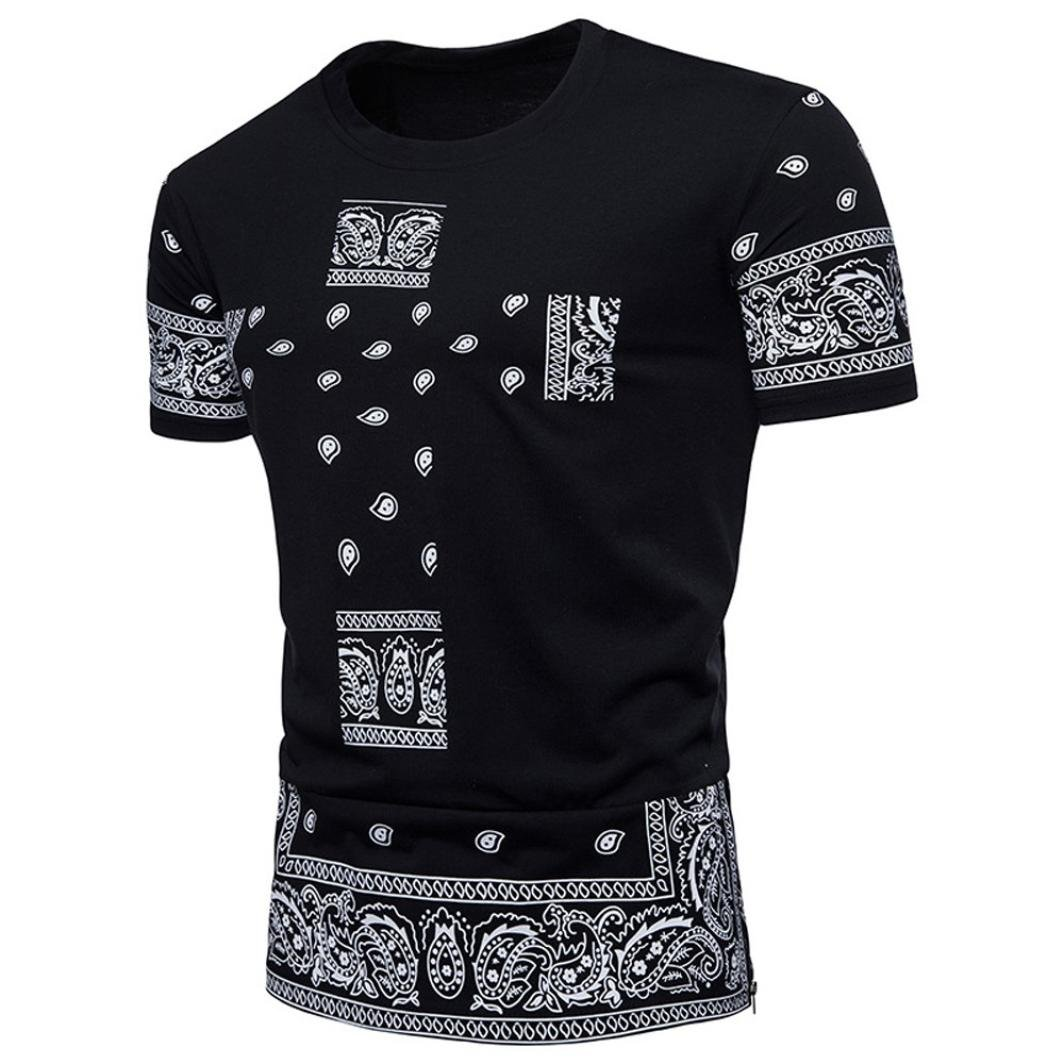 Longra Herren T-Shirt Cashew-Blume Print-Shirts Ethno Crew Neck Rundhals Basic Shirt Mauml;nner Mode Hiphop Hemd Top Oversize Herren Vintage T-Shirt  XXL|Black