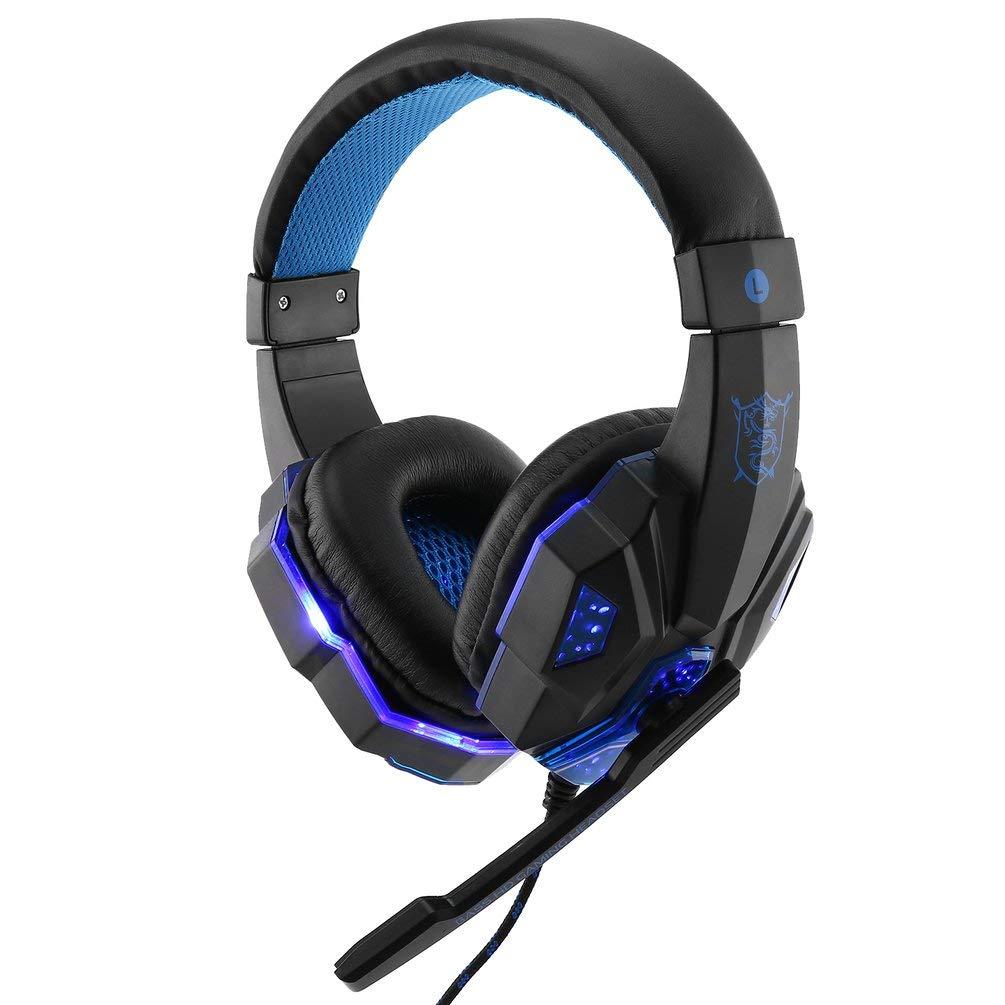 TAOHOU SY830MV Gaming Headset con Mic-Sound Headphone LED Lights per PS4 Xbox-One Nero e Blu