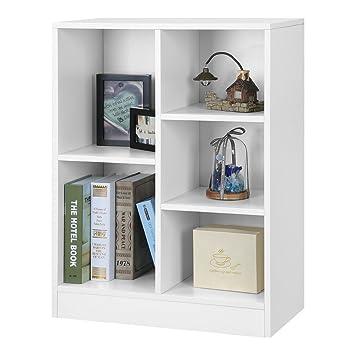 LANGRIA 5 Cube Storage Unit Open Bookcase, Modern Freestanding Cabinet,  Sturdy MDF Board