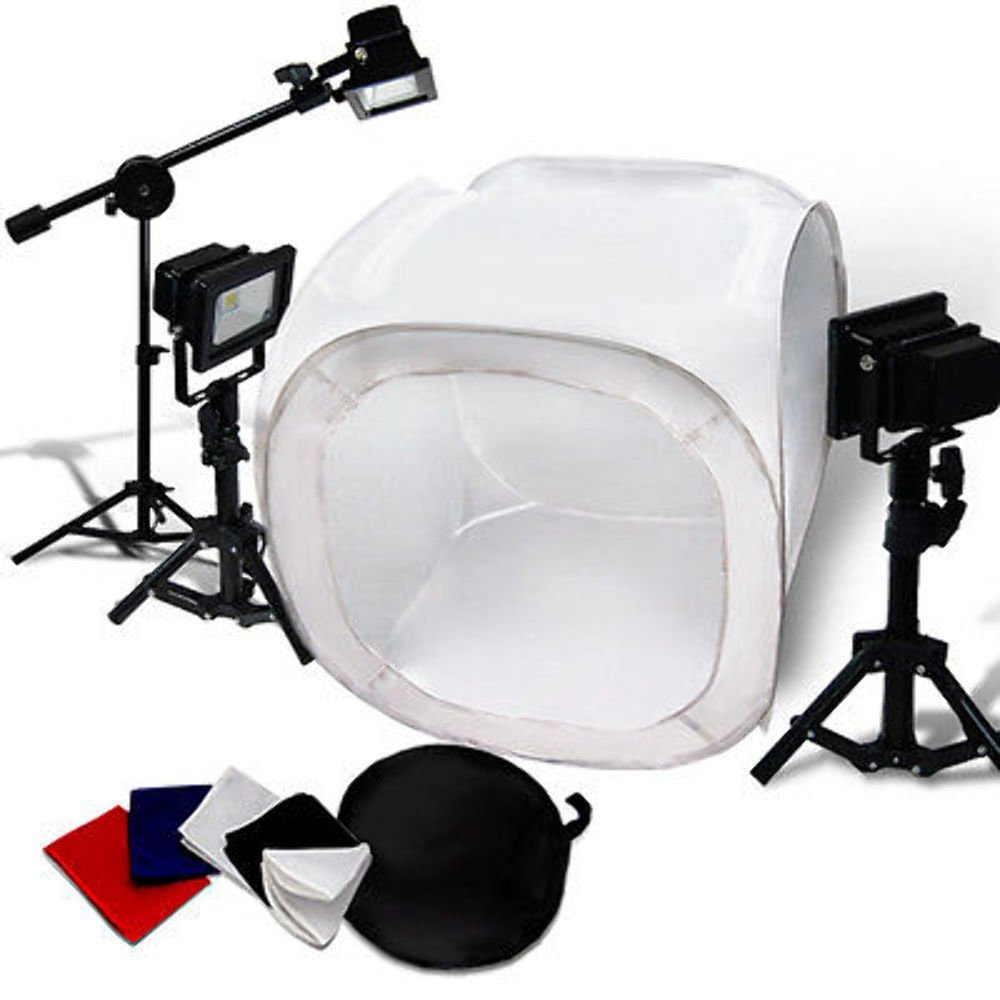 30'' Photo Light Tent Cube Soft Box w/ 4 Chroma Key Backdrops LED 5400K by Gogad
