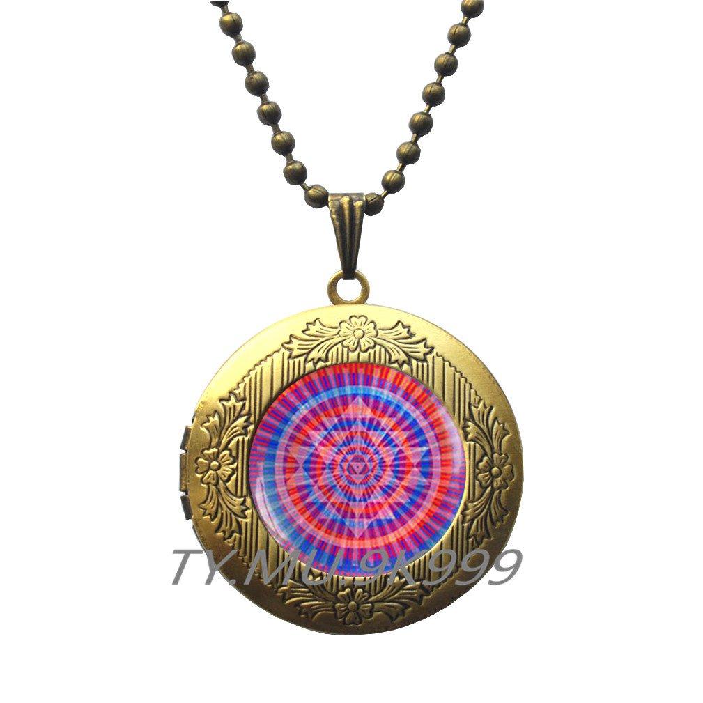 Yao0dianxku Flower of life Locket Pendant Flower of life Jewelry Sacred geomery Locket Necklace,Sacred geomery Locket Pendant.Y103 Flower of life Locket Necklace