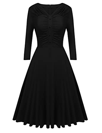 4635a47a03e9 Misakia Women's Vintage 3/4 Sleeve V-Neck Cocktail Formal Swing Dress (Black