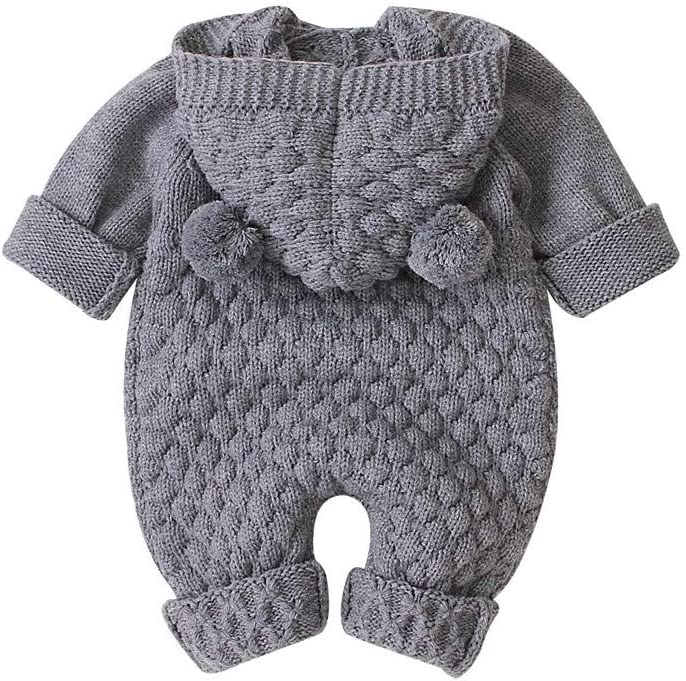 Lanhui Knitted Jumpsuit Infant Baby Girl Boy Winter Warm Coat Knit Romper Outwear Sweater with Woolball Bodysuit