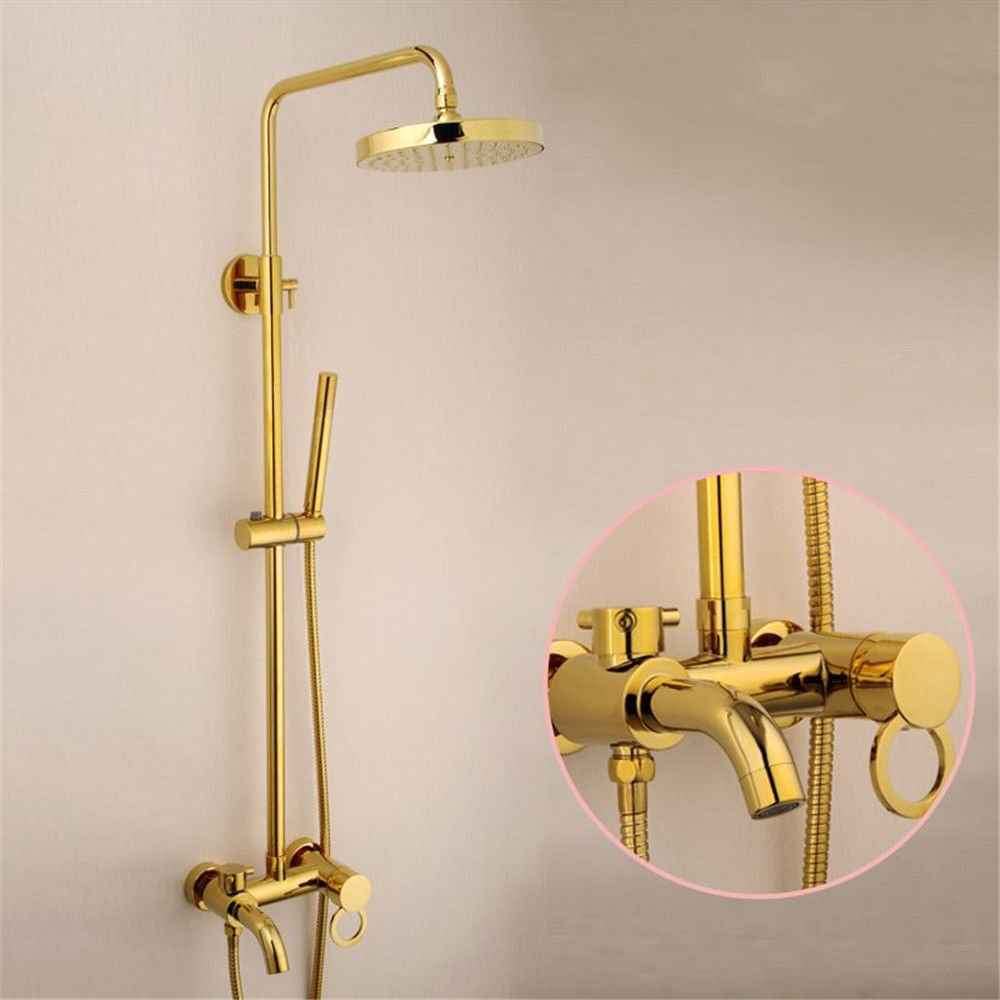 Lalaky Taps Faucet Kitchen Mixer Sink Waterfall Bathroom Mixer Basin Mixer Tap for Kitchen Bathroom and Washroom Antique gold-Plated Copper Wall-Mounted Lifting Body Hand Shower