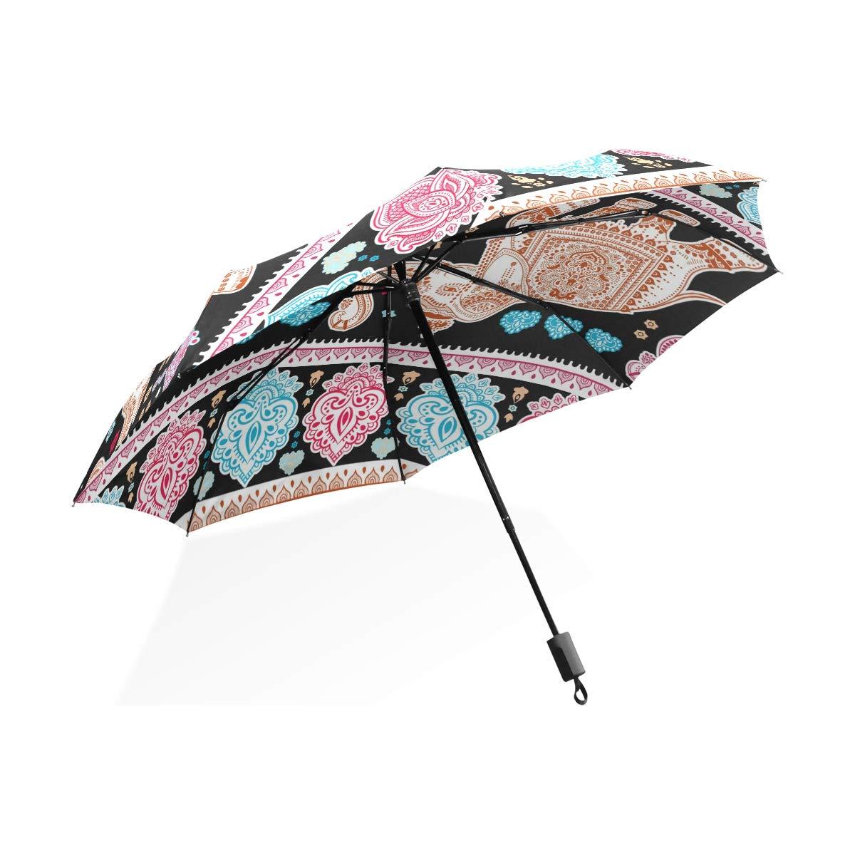 Isaoa Automatique Voyage Parapluie Pliable Compact Parapluie éléphant Indien Coupe-Vent Ultra léger Protection UV Parapluie pour Homme ou Femme