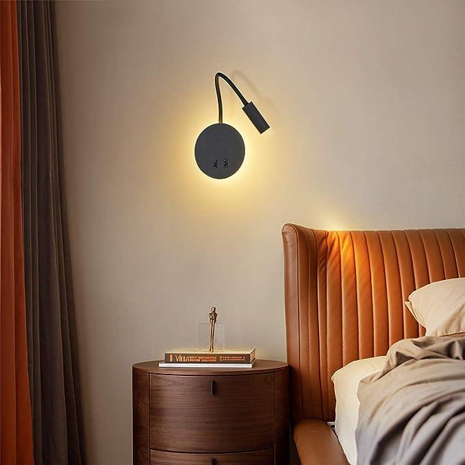 Applique murale Liseuse LED avec interrupteur Blanc chaud 3000K Moderne noir Budbuddy 3+8W LED Lampe de chevet pour lire LED Lampe de lecture de Cygne Flexible
