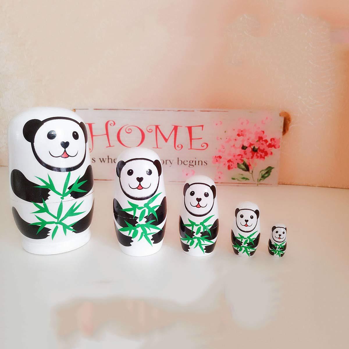 TOYANDONA 5pcs Russian Nesting Dolls Matryoshka Cute Panda Wood Stacking Nested Wooden Toy for Kids Birthday Gift Home Decoration