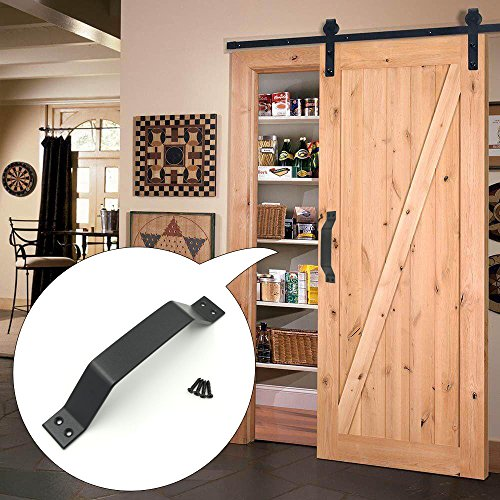 TOPETEK Black Barn Door Handle - 9 inch Rustic Door Pull Handle for Shed, Garage and Sliding Barn Doors - Powder Coated Finish - Premium Carbon Steel