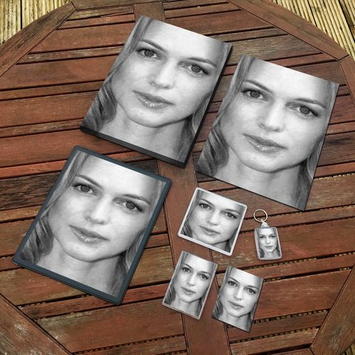 Heather Graham - Original Art Gift Set #js009 (Includes - A4 Canvas - A4 Print - Coaster - Fridge Magnet - Keyring - Mouse Mat - Sketch Card)