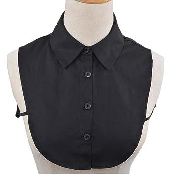 Elegante Moda Mujer falsificación mitad camisa blusa oberteile desmontable falso collar corbata Collar Negro
