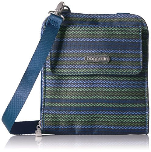 Baggallini Rfid Travel Passport Crossbody, Moss Stripe by Baggallini