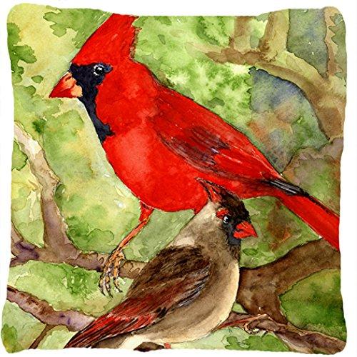 Caroline's Treasures KR9007PW1414 Bird Northern Cardinal Canvas Fabric Decorative Pillow, Large, - Northern Square Pillow