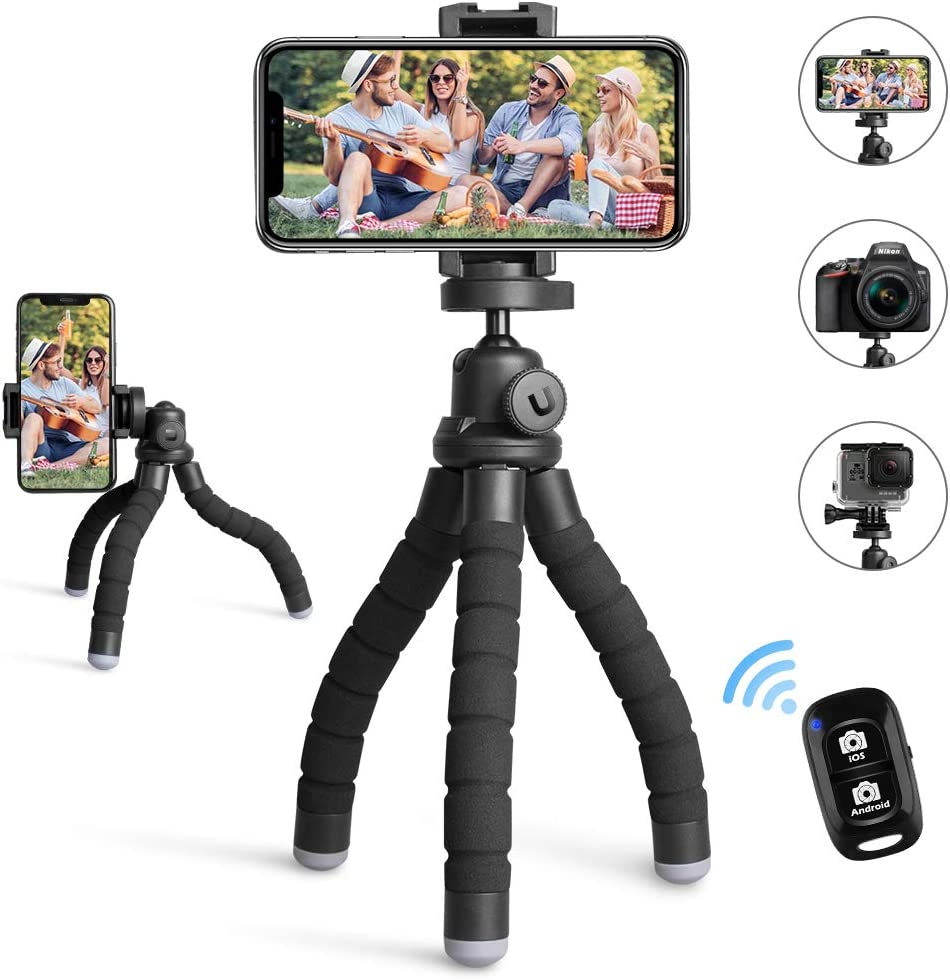 UBeesize Phone Tripod,Portable and Flexible Tripod with Wireless Remote and Universal Clip, Compatible with iPhone/Android/Camera GoPro,iPhone Tripod for Live Streaming Tiktok YouTube Video Recording