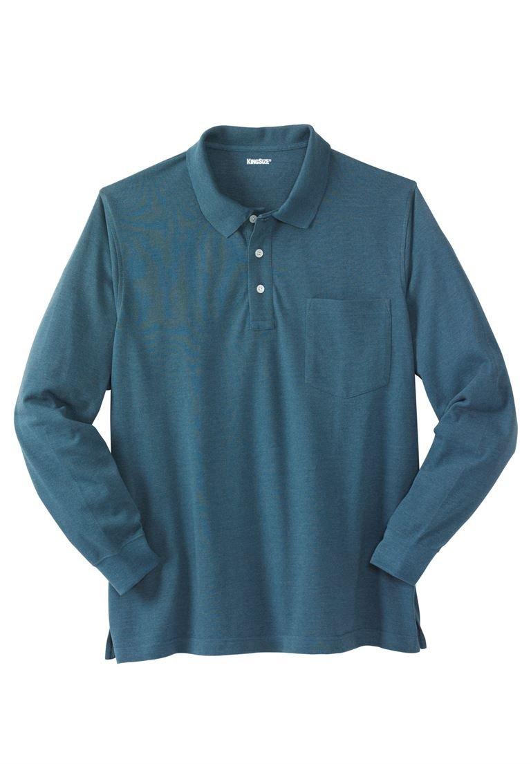 KingSize Men's Big & Tall Long-Sleeve Piqua Polo Shirt, Heather Midnight Teal