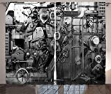 Ambesonne Industrial Decor Curtains, Modern Times Detail of Rusted Machine in Factory Physical Equipment and Process, Living Room Bedroom Decor, 2 Panel Set, 108 W X 84 L Inches, Black and White