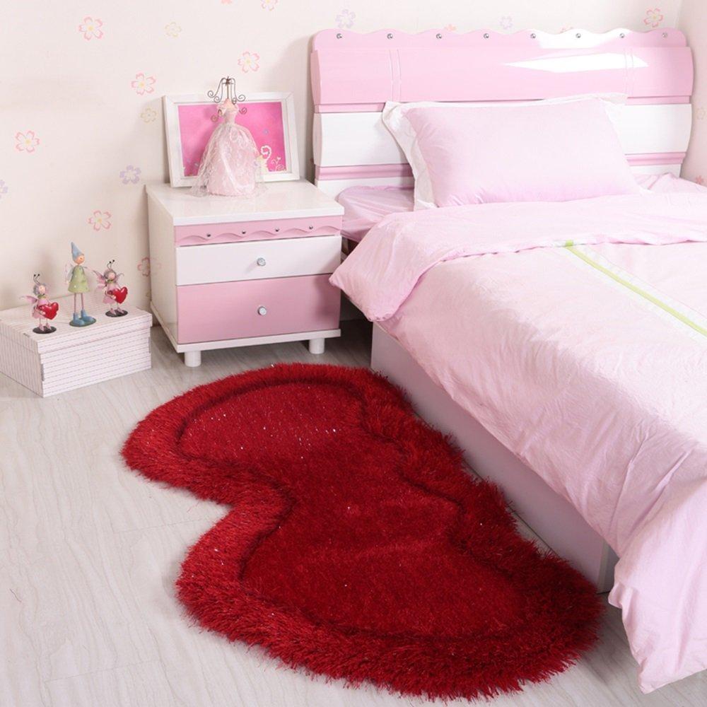 Unbekannt Herzförmige Teppich Hochzeit Bettdecke niedlichen Kinderzimmer Vollboden Teppich festen Colo (Farbe : Rot, größe : 72 * 142cm)