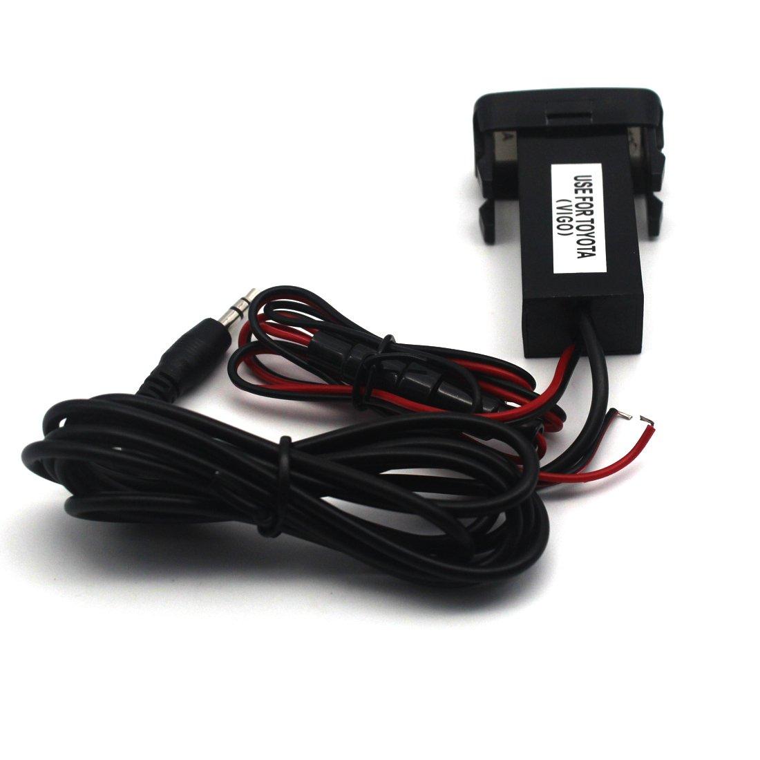 Toyota VIGO Car USB Socket Port with 3.5mm AUX Socket 40 20mm Samsung,LG,Huawei and More MOTONG Car USB Power Socket Port For iPhone X//8//7//6//5 4327076743 iPad