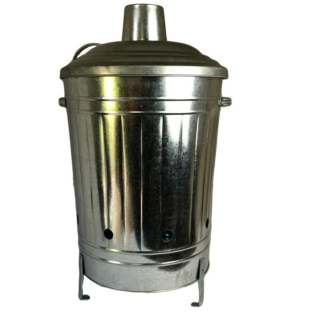 60L LITER Metal Galvanised Garden Incinerator Fire Bin Burning Leaves Paper Wood Rubbish Dustbin Made In U. K. UK