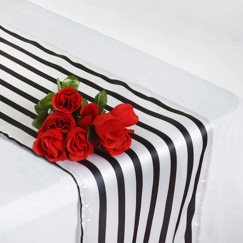 HYCC Pack of 10 Stripes Satin Table Runner for Wedding//Bridal Shower Birthdays//Baby Shower and Special Events Black//White, 12X 108