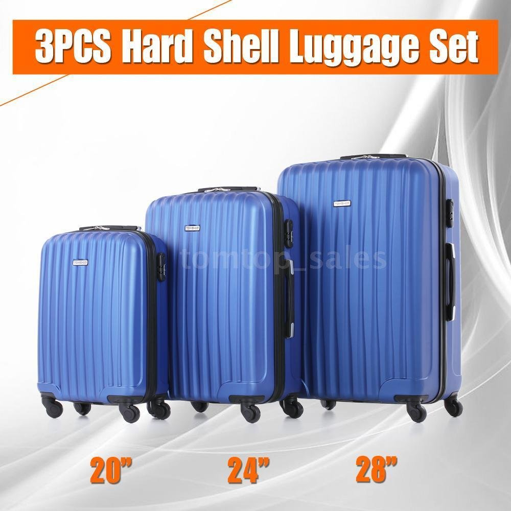 Luggage Travel Set ABS Suitcase 4 Wheels Carry-on Spinner Trolley Bag 3 Pcs V8K8 (Blue)
