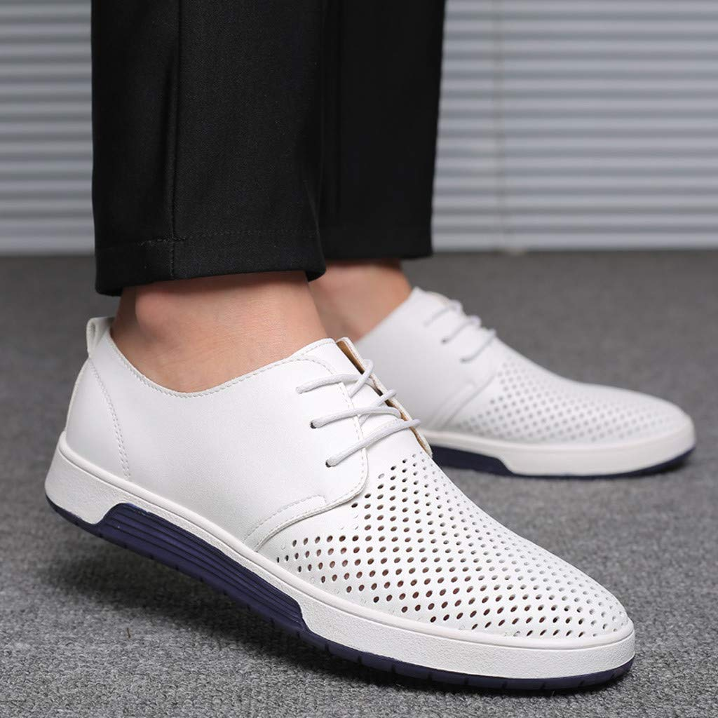HCFKJ Mens Fashion Breathable Casual Leather Shoes Round Toe Lace-Up Male Shoe
