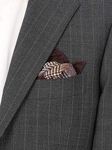 (ザ・スーツカンパニー) MADE IN ITALY/グレンチェック&ハウンドトゥース柄 シルクポケットチーフ ブラウン×ベージュ×ブルー