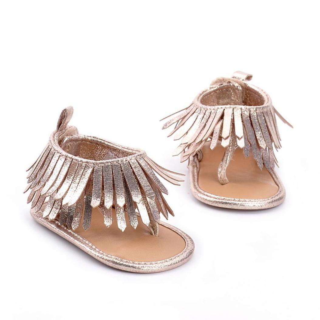 Vovotrade Bebé Niña Primer Paso Suela Blanda Cuna niño pequeño Recién Nacido Borlas Sandalias Zapatos Regalo