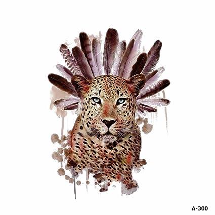 WYUEN 5 hojas de color de agua leopardo tatuaje impermeable ...