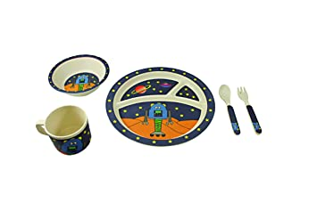 EcoBamboo Ware Kids Bamboo Dinnerware Set Link The Robot 5 Count  sc 1 st  Amazon.com & Amazon.com : EcoBamboo Ware Kids Bamboo Dinnerware Set Link The ...